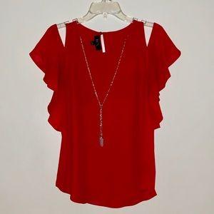 NWOT red cold shoulder blouse w/detachable chain